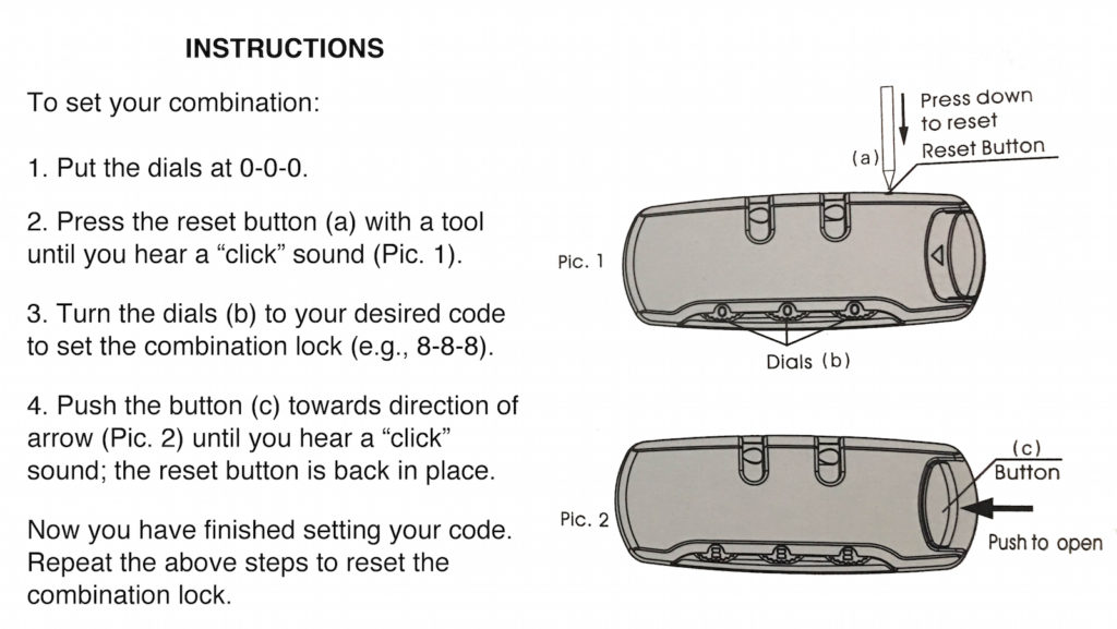 smell proof bag combination lock instructions